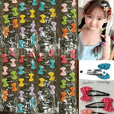 "60pc Baby Toddler Girl Hair Snap Dots Mixed Assorted Colors Hairpin Clips 2"" Lot"