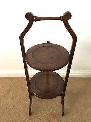 Beautiful Rare Antique Victorian Mahogany Two Tier Folding Cake Stand