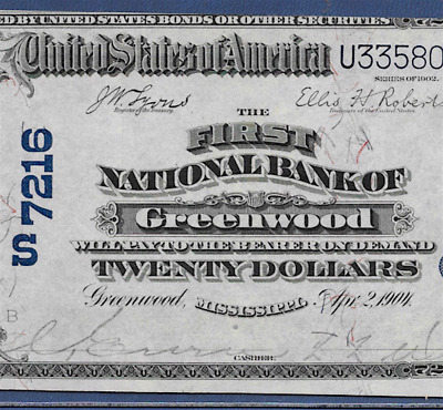 Ms 1902 $20 ♚♚Greenwood,mississippi♚♚ Pcgs Ch About New 55   Best Grade!!!