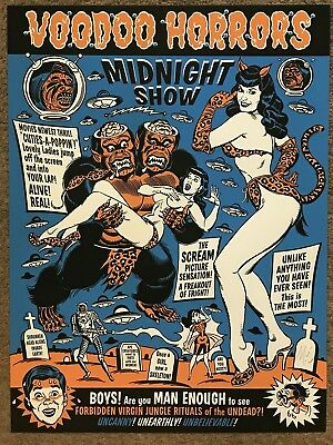 Voodoo Horrors Bettie Page Midnight Show BlackLight Art Print Poster Mondo Movie