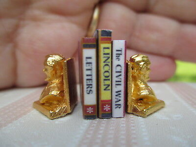 Dollhouse Miniatures ~ Abraham Lincoln Metal Book Ends Painted Gold