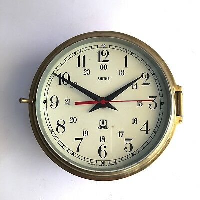 Ships Brass Wall Clock Smiths 24Hr Battery Operated Impressive Decor