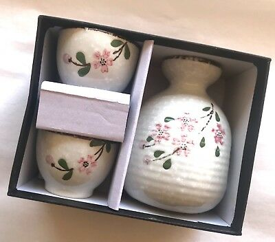 3pcs Japanese Ceramic Sake Set Cups Handmade Porcelain Traditional Underglaze