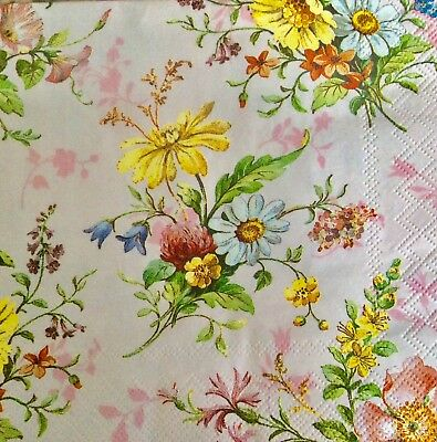 3 Paper Napkins for Decoupage / Parties / Weddings - spring flowers
