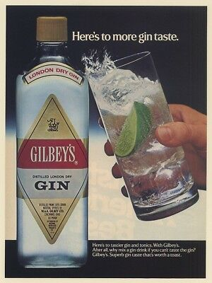 1986 Gilbey's Here's to More Gin Taste Worth a Toast Print Ad