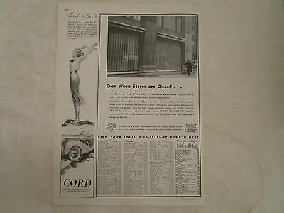 1937 Cord Original Print Advertisement from March 1937