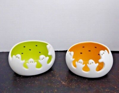 Partylite Spooky Ghost Tealight Pair Candle Holders Halloween P9778