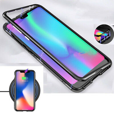 Magnetic Adsorption Metal Tempered Glass Cover Magnetic For Huawei P20 Pro Case