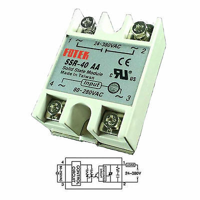 Output 24-380VAC SSR 40AA 40A AC-AC Fotek Solid State Relay for Arduino