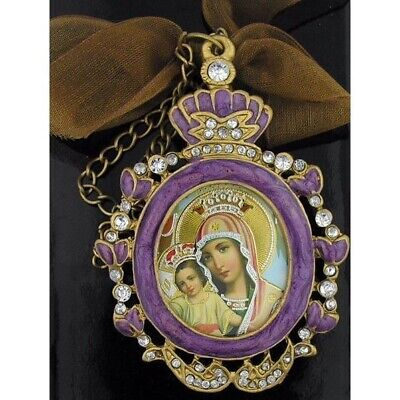 Ornate Jeweled & Enameled Icon Pendant Madonna & Child w/Chain and Bow Gift