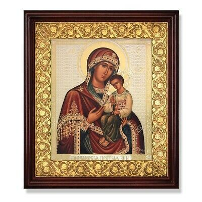 Madonna and Child Icon In Wooden Open Up Kiot Shrine - Glass 11 3/4 inch