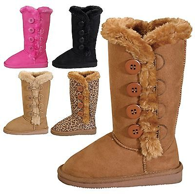 Kids Girls Classic Round Toe Boots w/ Side Buttons Faux Fur Toddler Youth Sizes