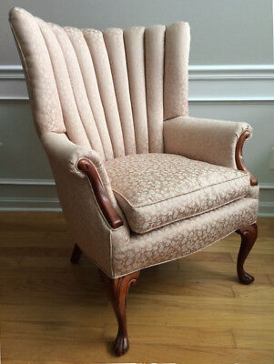 ANTIQUE CHANNEL-BACK WING CHAIR * reupholstered & re-cushioned * ELEGANT!