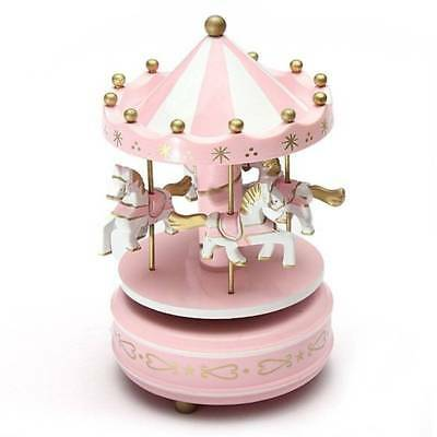 Wooden Merry-Go-Round Carousel Music Children Box Toy Kids Musical Box Gift Pink