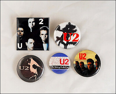U2 Lot Of 5 80's Buttons Pins / Bono / The Unforgettable Fire / Joshua Tree