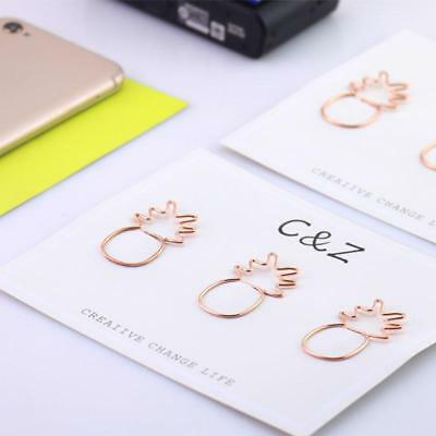 Pineapple Shape Paper Clips Rose Gold Electroplating Metal Paperclips Supplies