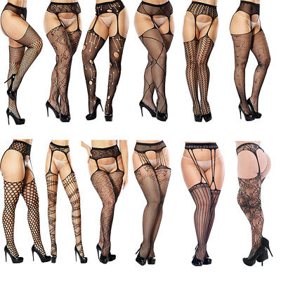 Women's Black Lace Sexy Crotchless Suspender Tights Sheer Fishnet stockings Belt
