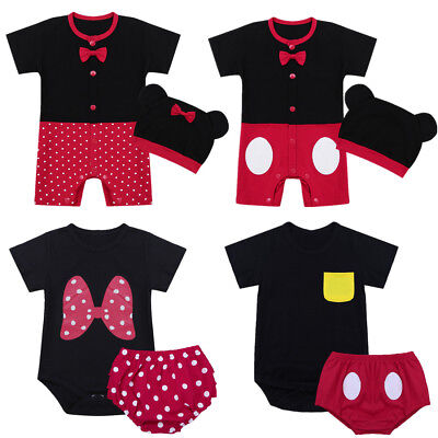 Infant Baby Boy Girl Romper Outfit Minnie Bodysuit Jumpsuit Hat Bloomers Costume