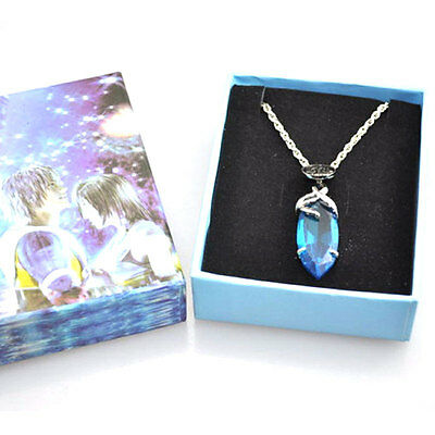 Anime Final Fantasy Crystal Yuna Blue Freeze Materia Pendant Cosplay Necklace