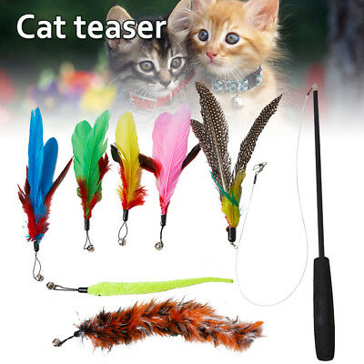 8pcs Cat Toys Kitten Rod Mouse Feathers Bells Balls Fur Scratch Teaser Rat UK