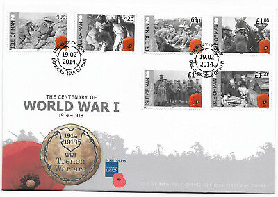Isle of man 2014 The Centenary of World War I 1914-1918 Trench Warfare FDC
