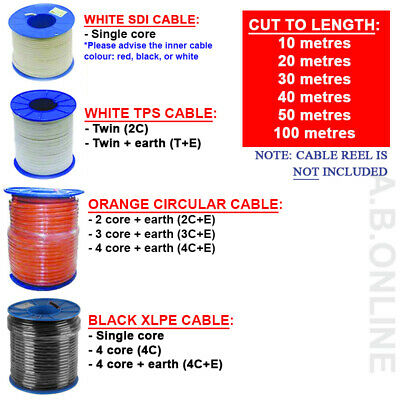 Electrical Cable Tps Twin Earth Power Light Lighting White Orange Circular Sdi