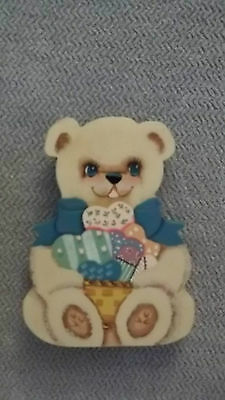 Tole Painted Teddy Bear  Home Decoration  Nursery Wall Hanging Handcraft