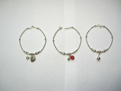 Set of 3 Hmong Miao Silver Bracelet Bangle Luck Hand Craft Chinese Hill Tribe