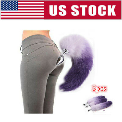 US 3pcs Butt Anal Insert Plug Stopper Slicone Fox Anal Tail Sexual Toy Cosplay