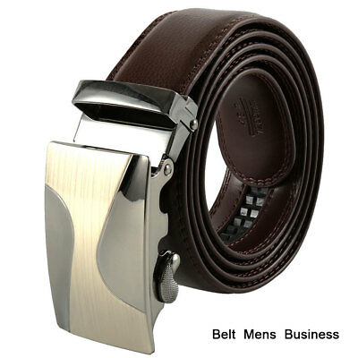 Been-Icey Men's Automatic Buckle Belt Black Genuine Leather Waistband Jeans Gift
