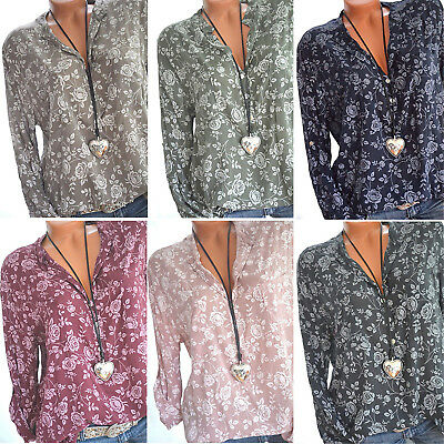 Womens Boho Floral Long Sleeve Blouse Baggy Tops Casual Office V Neck T Shirt