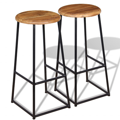 2 Bar Stools Wooden Barstools Solid Teak Wood Kitchen Bar Pub Iron Metal Chairs