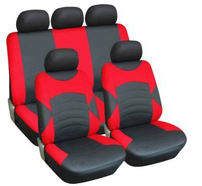 BLACK & RED FAUX LEATHER SEAT COVER SET for VAUXHALL AGILA (09-11)