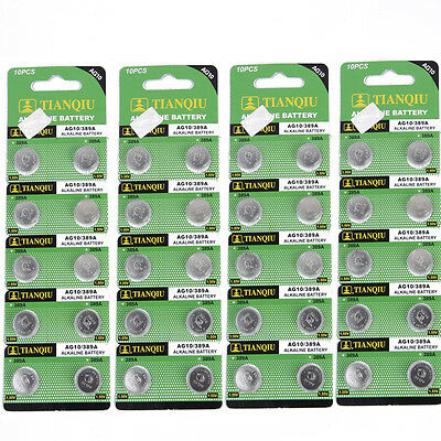 40 PCS AG10 / 389A / LR1130 / LR54 Alkaline Single Use Cell Button Battery 1.5V