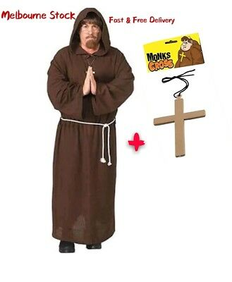 Adult Monk Cross Costume Mens Priest Hooded Robe Friar Medieval Fancy Halloween