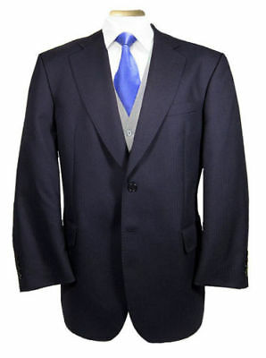 Men's Classic Navy Blue Lounge Suit Jacket Business Work Cruise Stage Formal