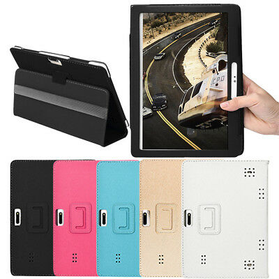 Universal Folio Leather Stand Cover Case For 10 & 10.1 Inch Android Tablet Klein