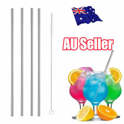 4x Stainless Steel Metal Drinking Straw Straws Bent Reusable Washable+1 Brush OD