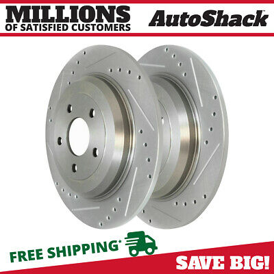 Rear Pair (2) Silver Drilled Slotted Rotors 5 Stud Fits 2011-2019 Ford Explorer