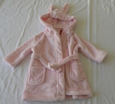Baby Girls size 0    6-12 mths PINK very soft fleece Dressing Gown hood ears NEW