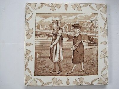 """Wedgwood 8"""" Months (Old English) Series Tile - July - By Helen Miles Circa 1878"""