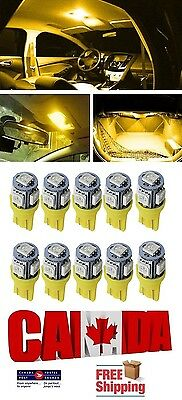 10x T10 194 168 LED Amber 5SMD 5050 W5W Bulb Wedge Side Light Bulb Orange