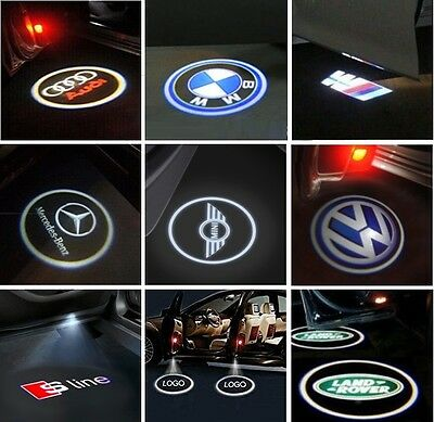 2x CREE LED Lamps Laser Projector Logo For AUDI BMW Benz VW Door Shadow Lights