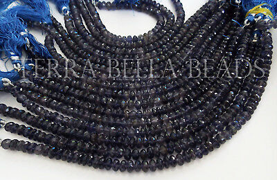 "7"" blue IOLITE faceted gem stone rondelle beads 6mm WATER SAPPHIRE"