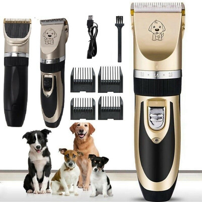 Electric Dog Cat Pet Shave Clipper Hair Low Noise Cordless Grooming Trimming Kit