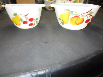 2 Anchor Hocking Fire King Gay Fad Pear Cherry Peach Mixing Bowls