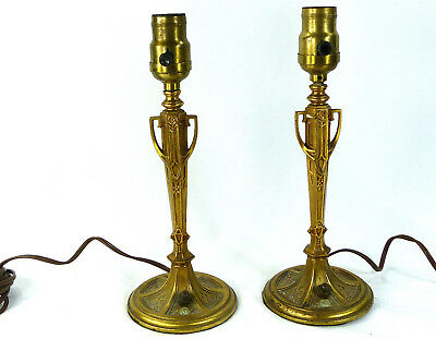 Table Lamps Pair Antique Solid Brass Bronze Heavy Small Rare Detailed Art Deco