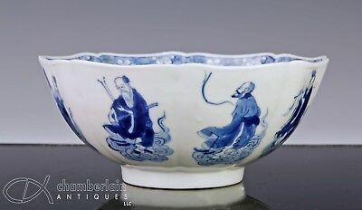 Antique Chinese Blue And White Porcelain Bowl With Figures - Kangxi Period