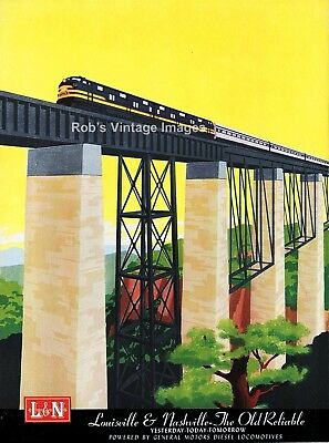 Louisville & Nashville L&N Railroad Train Advertising Poster 1960's