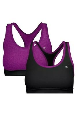 3011d7846a9a9 2 CHAMPION SPORTS Bra Seamless Double Dry Reversible Black Small ...